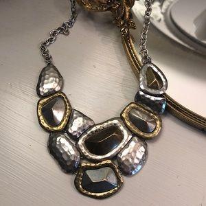 Mixed metallic hammered bib necklace